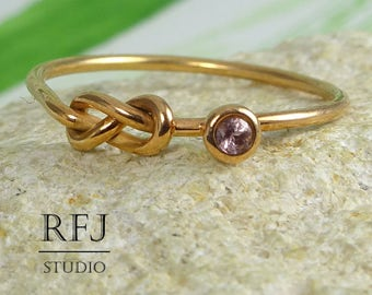 Natural Pink Tourmaline Infinity 14K Rose Gold  Ring, October Birthstone Rose Gold Plated Double Knot Ring 2mm Round Cut Gemstone Ring