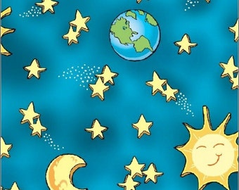 """Astronomy Fabric, Space Fabric: Quilting treasure How in the world? - Stars, Sun, and Earth 100% cotton Fabric by the yard 36""""x43"""" (C153)"""
