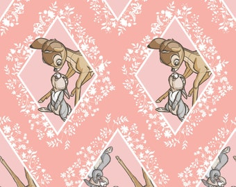 "New Disney Bambi Fabric: Camelot Disney Bambi power of friendship Thumper Rabbit Diamonds Pink 100% Cotton Fabric by the yard 36""x43"" (CA300"