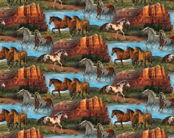 PRE ORDER- Horse Fabric: Wild Wings Rivers Edge Horses Scenic by Springs Creative 100% cotton Fabric