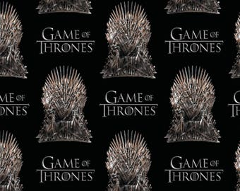 IN STOCK HBO Game of the thrones Fabric: Game of The Thrones The Iron Throne on Black 100% cotton fabric by the yard (SC413)