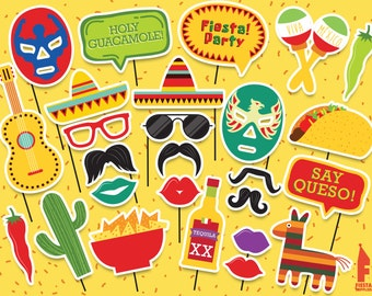 Mexican Party Printable Photobooth Props - Mexican Photo Booth Props - Printable mexican party Props-  Cinco De Mayo, Day of The Dead Props