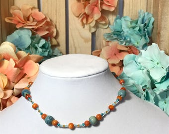 Orange And Teal Necklace