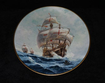"1992 W.S. George Columbus Discovers America: The 500th Anniversary ""Under Full Sail"" Collector Plate by Jordi Penalva"