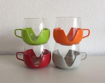 Space age Tea cups sixties seventies tea glasses retro thee kopjes vintage glazen Holland design