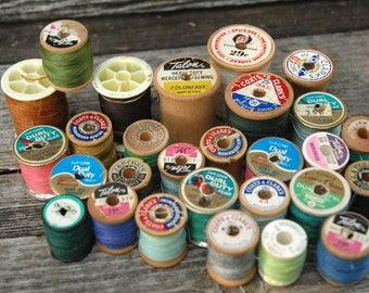 Vintage sewing thread spools, Vintage Coats and Clark Thread, Vintage Sewing