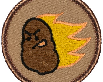 Flaming Potato Patch (608A) 2 Inch Diameter Embroidered Patch