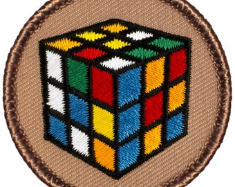 Puzzle Cube Patch (707) 2 Inch Diameter Embroidered Patch