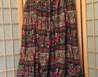 Vintage 90s Indian Broomstick Maxi Skirt