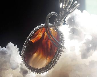 Fire agate wire wrap pendant