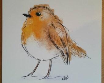 Robin card // robin greetings card // birthday card // robin design // robin gifts // British bird card // bird watcher card // bird card