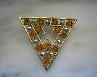 Vintage Gold Tone & Amber Rhinestones Triangle Pin or Brooch