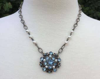 Vintage Assemblage Necklace with Vintage Blue Rhinestone and Faux Pearl Brooch