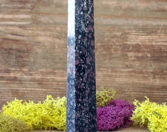 Ruby in Black Tourmaline Crystal Multi Faceted Healing Wand  - 1038.49