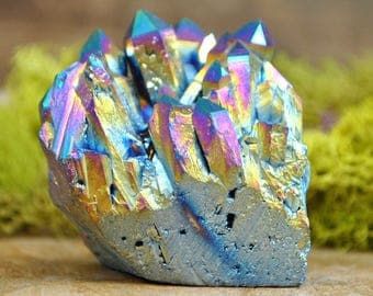 Rainbow Titanium Aura Crystal Cluster  - Perfect for Healing Grids and Terrariums 1210.11