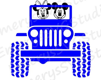 SVG DXF File for Mickey and Minnie in Jeep