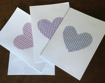 All Occasion Notecards, fabric hearts, twill checks, Set od 3