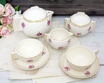 Vintage French Demi Porcelain Coffee/Tea Set for Two - Art Deco - Badonviller - Demi-Porcelaine