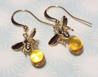 Bee and honey gold plated earrings