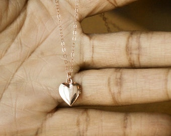 Rose Gold Locket, Rose Gold Heart Locket, Tiny Locket, Heart Locket, Locket Pendant, Locket Jewelry, Love Locket, Bridesmaids Thank You Gift