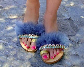 Grey-blue Fluffy Fur Sandals / Flat Leather Sandals / Swarovski Crystal Sandals / Boho Feather Sandals / Greek Sandals