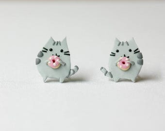 Pusheen cat with donut - tiny earrings