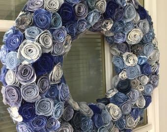 Fabric flower wreath, front door wreath, farmhouse wreath, cottage wreath, summer wreath, spring wreath, shabby chic wreath, wreath, unique
