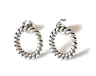Sterling Silver Oval rope Stud Earrings/Highly polished/Gifts/wedding/bridesmaid