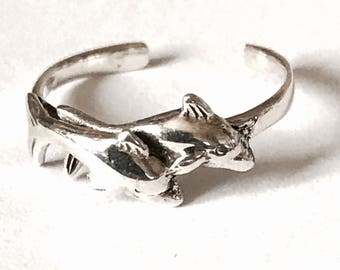 Sterling Silver Double Dolphin Toe Ring