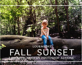 3 Autumn Sunset Photoshop Actions Professional Photo Editing for Portraits, Newborns, Weddings By LouMarksPhoto