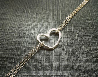 Hammered Heart Bracelet, textured, love heart, double strand chain, love, hearts, handmade, timeless, classic, dainty, Sterling Silver,