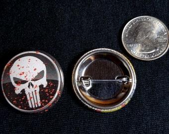 "Handmade 1.25"" pinback buttons Punisher pins badges button"