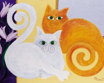 DIVA's Cats. Reproduction of original Vardit Dafni's Acrylic art, Print on Canvas, extra fine quality, 85/62.5cm