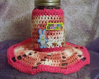 Mother's Day/Summer mason jar with matching holder and doily
