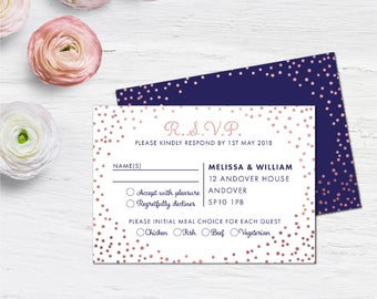 Navy and Rose Gold RSVP cards, Wedding response cards, Wedding RSVP, Wedding response cards, Wedding Postcard rsvp, 40 Custom Colours, A6