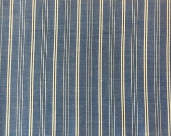 Woven Blue and White Striped Light Weight Fabric, #dr139