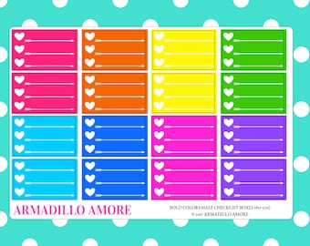 Bold Colors Half Box Checklists {16 Fancy Matte or Glossy Planner Stickers} | #17-276