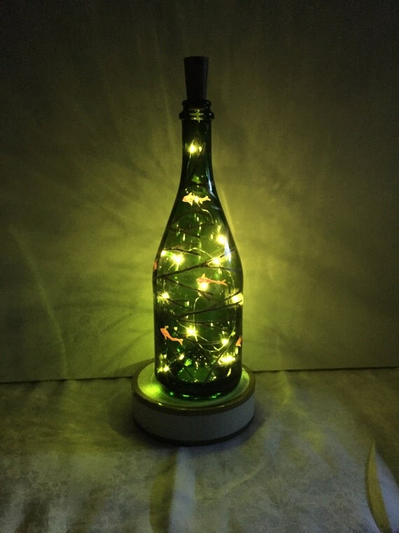 Wine bottle lantern with coral and fish for Fish wine bottle