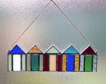 Beach hut stained glass suncatcher. Beach decor. Coastal decor. Coastal art. Housewarming gift. Beach house decor. Bathroom decor. Seaside