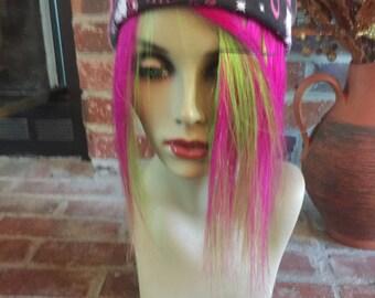 "10"" Hot Pink Over Lime Green Human Hair Extension Fringe/Bang/Bangs"