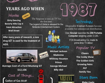 Personalized 30th Birthday Chalkboard Poster, 1987 Facts DIGITAL FILE