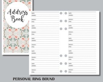 PERSONAL RINGS Sized Printable Address Book Insert