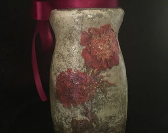 Carnations glass jar
