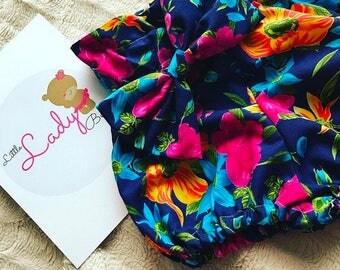 Tropical print bloomers with matching bow