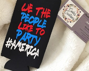July 4th Can Coolie//beer sleeve//alcohol//can holder//America//party favor//july party//unqiue