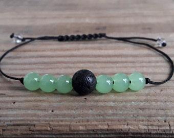 Essential oil diffuser bracelet green chrysoprase bracelet lava stone diffuser bracelet aromatherapy bracelet yoga bracelet healing bracelet
