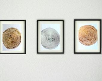 SALE Abstract Acrylic Painting Original Art Set of 3 Gold Silver Bronze Metallic Paintings / Circle Art Original Wall Art 8 x 10