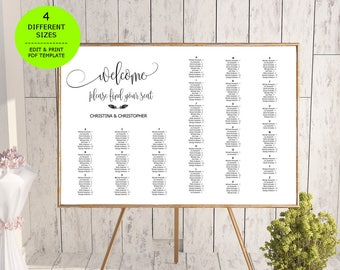 Wedding Seating Chart Template, Seating Chart Printable, Seating Board, Editable Seating Chart,PDF Instant Download, Editable Seating Poster