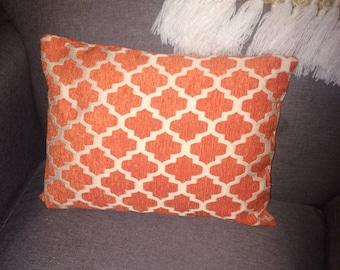 Moroccan Lattice print Orange Decorative Pillow