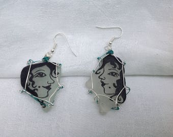 Handpainted Seaglass earrings with Greek style miniatures